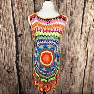 Double Zero Rainbow Crochet Boho Festival Vest